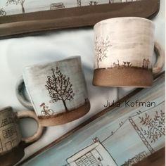 ceramic mugs Tree and bicycle rustic mugs Slab Pottery, Pottery Mugs, Ceramic Pottery, Thrown Pottery, Clay Mugs, Ceramic Clay, Ceramic Tile Art, Ceramic Bowls, Rustic Mugs