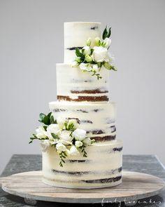 4 Tier semi-naked wedding cake