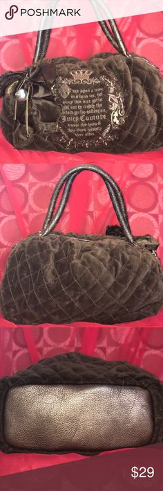 Juicy Couture Brown velvet shoulder bag Authentic Juicy Couture black nylon quilted handbag. Handbag has been used . Signs of use but no holes or punctures  to the handbag. There is significant markings in the inside of the handbag. Please look at pictures & ask questions if needed. Handbag can be used as a Diaper Bag,  it's large enough or maybe a Doggy carrier handbag. Shoes on last picture match perfectly (also Juicy Couture) are also for sale on my closet Juicy Couture Bags Shoulder Bags