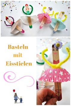 Basteln mit Eisstielen: süße Ballerinas aus Eisstielen oder Holzspateln ganz schnell selber machen. Riesen Bastelspaß für Kinder! Inkl. Jungsalternative :)