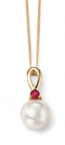 "Elements 9ct Yellow Gold Ruby and Pearl Pendant with 18"" Chain"