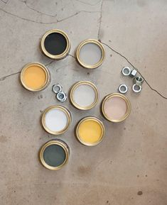 Farrow & Ball's 'Industrial' colour scheme - warm Babouche yellow and steely 'Downpipe' grey. Great combination.
