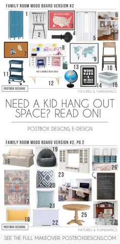 Postbox Designs, E-Design: 5 Ways to Create a Kid Homework Center, Home Office, Kid Hang Out Space.All in One Room! Plus see this Homeschool Room Makeover + Home Space via Online Interior Design Bonus Room Design, Media Room Design, Dining Room Design, Interior Design Help, Home Office Design, Home Office Decor, Office Ideas, Interior Decorating, Kids Bedroom Designs