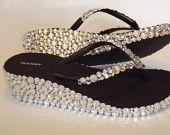 Rhinestone Bling Wedge Flip Flop Sandal