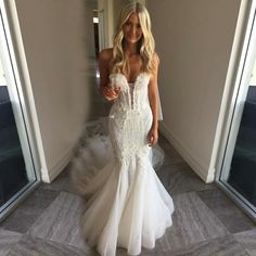 Mermaid Sweetheart Court Train Tulle Wedding Dress with Lace Princess Style Wedding Dresses, Western Wedding Dresses, Cute Wedding Dress, Affordable Wedding Dresses, Sweetheart Wedding Dress, Tulle Wedding, Designer Wedding Dresses, Bridal Dresses, Wedding Gowns