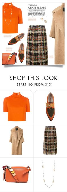 """Blumarine Plaid Pleated Skirt"" by kiki-bi ❤ liked on Polyvore featuring Delpozo, MaxMara, Blumarine, Anya Hindmarch, Alexis Bittar, Kenzo, croptop, orange, loafers and pleatedskirt"