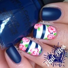 Jan's Nail Art Diary ^.~ @_nail_bliss_ | Websta..Love the dark blue and pink but can't get used to this matte thing. Old school I guess!