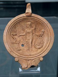 Staatliche Antikensammlungen, Munich. Oil lamp depicting Athena/Minerva, 1st century