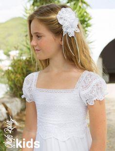 Vestidos de Comunión ibicencos para niñas. Colección Charo Ruiz Ceremonia. VER TOCADO