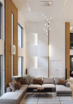 Perfect Homes: Discover 6 Projects Inside and Out High Ceiling Living Room Modern, Fancy Living Rooms, Home Design Living Room, Interior Design Living Room, Contemporary House Plans, Decoration, Home Decor, Lighting Ideas, Dining Room Lighting