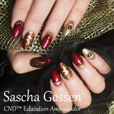 #CND™ #SHELLAC™ brand 14+ day nail color #CrimsonSash, #LocketLove #stamps #nailart #naildesign #stampingnailart #gold #studs #ModernFolklore #CNDShellac