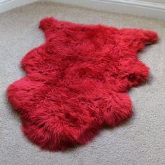 Genuine Australian Sheepskin Rug One Pelt Red Natural Fur, Single [VALENTINE SALE] (Valentine Red)