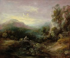Mountain Landscape With Bridge Painting by Thomas Gainsborough