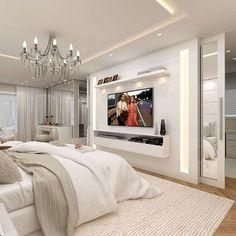 Master Bedroom Ideas 46 Cool Bedroom Tv Wall Design Ideas - Beds, Beds And Beds! Bedroom Tv Wall, Home Decor Bedroom, Bedroom With Tv, Wall Tv, Bedroom Storage, Bedroom Ideas Master For Couples, Bedroom Furniture, Furniture Design, Guest Bedrooms