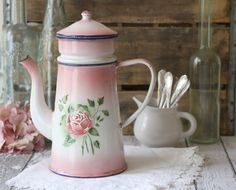 Vintage French Enamelware Pink and white Large Coffeepot with Pink Rose Detail - circa 1920's