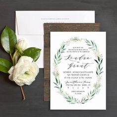 Rustic Wreath Wedding Invitations by Jennie Hake   Elli