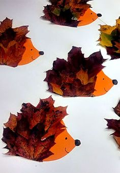 Herbstdeko basteln -DIY Bastelideen - Blatt Igel basteln mit Kindern