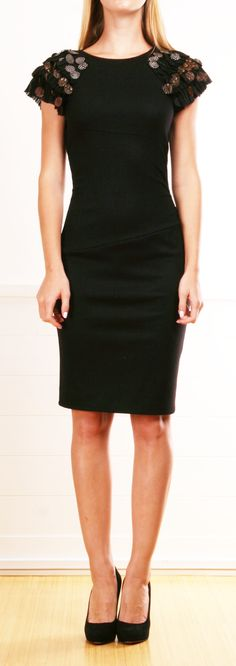 black stretch short sleeve dress with feathered shoulders