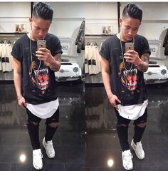 ?! Black ripped knee jeans. long fit white shirt. Givenchy black shirt. White air max 90