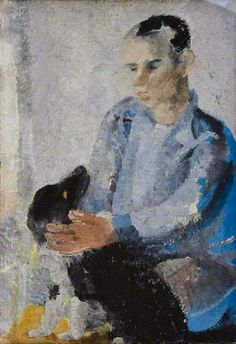 Ben with Slinky (also known as 'A Portrait of Ben Nicholson with Slinky the Dog') by Winifred Nicholson