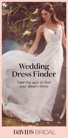 Take our wedding dress quiz to find the perfect wedding dress for you! Pick your style, neckline and body type to discover stunning bridal gown options from David's Bridal! Wedding Dress Quiz, Wedding Dress Finder, How To Dress For A Wedding, Perfect Wedding Dress, Dream Wedding Dresses, Bridal Dresses, One Shoulder Wedding Dress, Our Wedding, Wedding Gowns