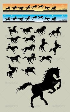 Buy Horse Running Silhouettes by on GraphicRiver. Smooth and detail vector silhouettes (can be scaled without lost of resolution) + bonus 2 images orange and blue back. Horse Running Drawing, Running Horses, Running Silhouette, Animal Silhouette, Horse Sketch, Horse Illustration, Horse Logo, Horse Drawings, Horse Art