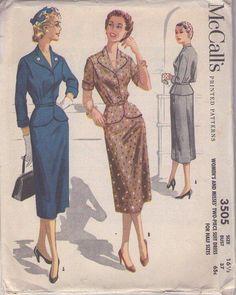 MOMSPatterns Vintage Sewing Patterns - McCall's 3505 Vintage 50's Sewing Pattern SHARP Heart Shaped Collar, Peplum Suit Jacket, Slim Skirt, 2 Piece Suit Dress Size 16.5