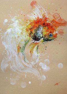 A Goldfishy Tale  watercolour  |  art print by tilentiart  |  so many beautiful splashy watercolor prints available