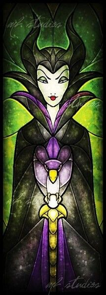 Maleficent [feat. Diablo] (Stained Glass by MandieManzano @deviantART) #SleepingBeauty