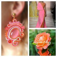 Pendientes diseñados y elaborados por La Niña Alhajas #soutache #orange #pink#spring2015 #handmadejewelry #primavera #spain