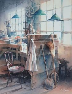 Old Workshop By Christian Graniou, Watercolor Painting - Art Collection Art Aquarelle, Watercolor Artists, Watercolor Techniques, Watercolour Painting, Painting & Drawing, Watercolor Architecture, Watercolor Landscape, Graffiti Pictures, Art Pictures