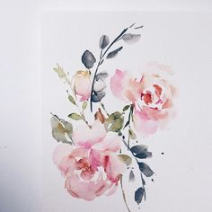 New Simple Art Painting Watercolour Ideas Watercolor Rose, Watercolor Cards, Watercolor Paintings, Painting Art, Painting Flowers, Watercolor Portraits, Watercolor Landscape, Abstract Paintings, Watercolours