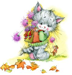 Imagens, fotos stock e vetores similares de Funny bunny and flower. Cute Kittens, Funny Bunnies, Animals For Kids, Cute Animals, Cute Animal Illustration, Animal Illustrations, Watercolor Illustration, Watercolor Art, Cat Clipart