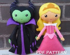 Sleeping Beauty and Maleficent-Free Craft Patterns cute kawaii disney inspired fairytale felt doll craft Felt Flowers Patterns, Felt Patterns, Pdf Sewing Patterns, Stuffed Toys Patterns, Craft Patterns, Felt Fairy, Sewing Dolls, Disney Crafts, Felt Toys