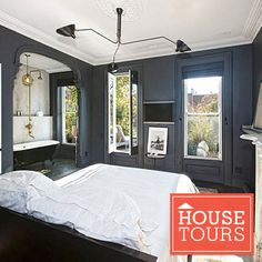 Yes please! I'll have this bedroom. I love the grays, whites and open bathroom.