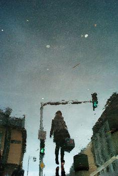Rainy Day Reflections. Rain photography, urban photography.