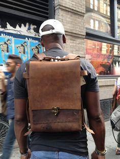 Laight backpack handmade leather bag brown por LUSCIOUSLEATHERNYC