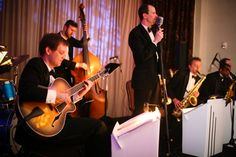Somewhere in-between the full big band and the smaller combo sits this band, Jeremy Shrader's Octocats. The sound and feel of Old Hollywood comes through while the band swings the hits of Sinatra, Nat 'King' Cole, and Bobby Darin. Old Hollywood Wedding, Bobby Darin, Humphrey Bogart, Live Band, Little Rock, Wedding Music, Vintage Music, Arkansas, Fundraising