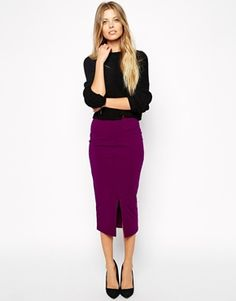 ASOS Midi Pencil Skirt with Front Split