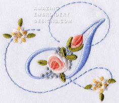 Amazing Embroidery Designs  Letter A with roses