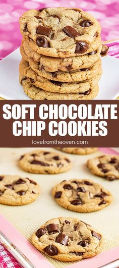 We love these soft baked chocolate chip cookies. Great big cookies, with the perfect soft texture. Easy Soft Chocolate Chip Cookies Recipe. #cookies #softchocolatechipcookies #chocolatechipcookies #recipes #baking #dessert #chocolate #lftorecipes