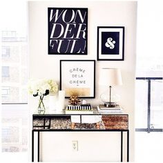 Black and white gallery way in entryway