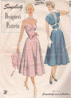 Simplicity 8288 1950s  Shaped Midriff Halter Sundress and Bolero vintage sewing pattern by mbchills