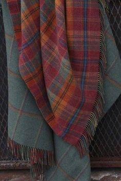 Tartan Blankets via London Trading Company Tartan Plaid, Tartan Throws, Plaid Scarf, Harris Tweed, Textiles, Stewart Tartan, Scottish Tartans, Warm And Cozy, Gingham
