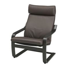 POÄNG Chair - Robust dark brown, black-brown  - IKEA with ottoman as a recliner alternative and super affordable eames look