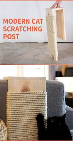 DIY Modern Cat Scratching Post : Save your furniture from claws with a stylish cat scratching post. Save your furniture from claws with a stylish cat scratching post. Save your furniture from claws with a stylish cat scratching post. Diy Jouet Pour Chat, Diy Cat Toys, Homemade Cat Toys, Cat Hacks, Hacks Diy, Cat Diys, Cat Scratcher, Pet Furniture, Barbie Furniture
