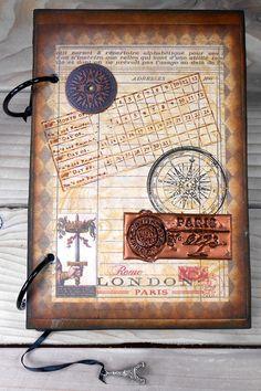 Paris Steampunk Sketchbook Journal Diary Notebook by Sketchadilly Diary Notebook, Journal Diary, Rome, Paris, Black Ribbon, Wedding Guest Book, Mini Albums, Hand Stamped, The Book