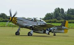 North American P-51D Mustang.Maurice Hammond  owns and operates a pair of beautifully restored Mustangs, from his grass strip at Hardwick, in East Anglia. Here his Mustang named 'Janie', which is finished in the colours of an aircraft flown by Major Bill Price, who flew with the 350th Fighter Squadron, 353rd Fighter Group, flying out of Raydon airfield, during the latter stages of WWII.