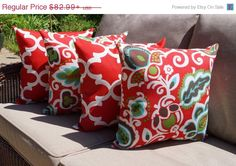 Fynn Rojo Red Moroccan and Faxon Rojo Floral Outdoor Throw Pillows - Set of 4 - Free Shipping