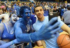 """""""Best Selfie with UNC's Marcus Paige and Cameron Crazies' Brian McSteen at Duke Cameron Indoor Stadium. Cameron Crazies, Unc Chapel Hill, Men's Basketball, Tar Heels, Duke, North Carolina, Indoor, Selfie, Twitter"""